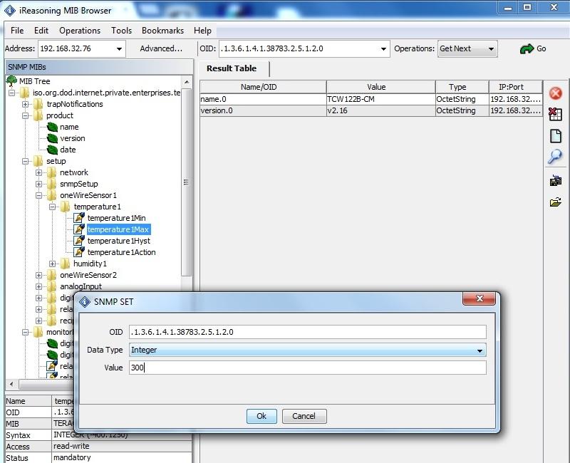 WatFile.com Download Free Using iReasoning MIB browser with TCW122B-CM - Teracom